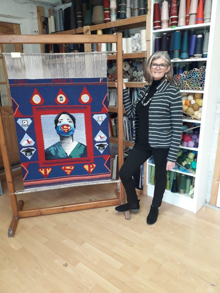 Frances Crowe with Phase 3 Tapestry